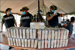 Mexican authorities seized 26 tons of cocaine bricks  one of the biggest drug busts on record  from a ship in the port of Manzanillo last week.
