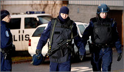 Police on the scene of deadly siege at the Jokela high school in Tuusula.