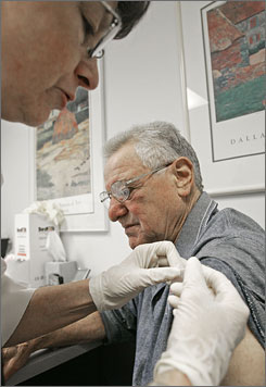 Mario Musachia, a participant in the NicVAX study, gets an injection from Donna Muehlenbruch in Madison, Wis., in 2006. He still struggles with addiction, but it hasn't been revealed whether he received the vaccine or a dummy shot.