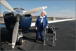 Evelyn Bryan Johnson, who has logged more flight hours than any woman in the USA,  has been unable to pilot a plane  since an auto accident two years ago, but she remains an inspiration.