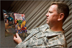 U.S. Army Lt. Col.  Dean Thurmond, U.S. chief, corporate communications, Army & Air Force Exchange Service (AAFES), flips through a The New Avengers comic book from Marvel Comics at the AAFES in Dallas on Friday. The comic will be released on Veteran's Day.
