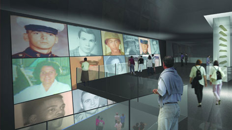 An artsits rendering of an exhibit that will feature photos of those listed on the wall.