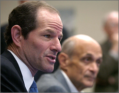 New York Gov. Eliot Spitzer, left, with Homeland Security Secretary Michael Chertoff on Oct. 27.