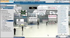 """Students participating in this week's virtual college fair will be able to instant-message college admissions personnel, watch live and taped video presentations, get information from colleges' """"booths"""" and link directly to college websites. About 100 schools and more than 10,000 students are expected to participate."""