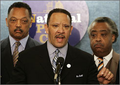 """Incidents like the Jena Six, and all of the noose incidents and how they've been handled, plays into the fact that African-Americans feel that they may be victims and no one will stand up to defend them,"" says Marc Morial, center. He is flanked by Revs. Jesse Jackson, left, and Al Sharpton."