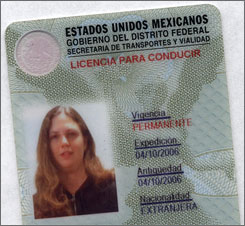 A foreigner's driver's license in Mexico.