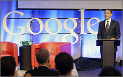 Democratic presidential hopeful Sen. Barack Obama, D-Ill., speaks at Google headquarters in Mountain View, Calif., on Wednesday.