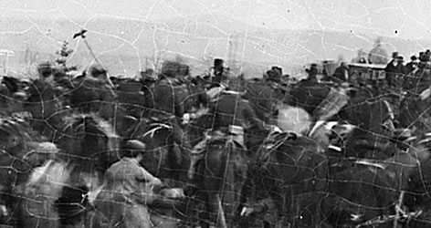 Abraham Lincoln is seen in this photo, wearing his famous top hat, before delivering the Gettysburg Address.