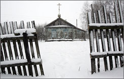 A house of worship, where cult members lived before going to a cave, stands in the village of Nikolskoye.