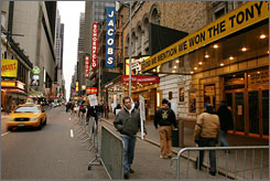 Stagehands picket outside Broadway theaters in New York on Nov. 17.