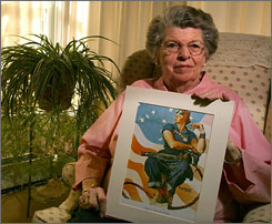 Mary Keefe sat for Norman Rockwell for his war bond posters featuring Rosie the Riveter.  Keefe holds an example of one such poster featuring her as a young woman.