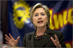 Democratic presidential hopeful Hillary Rodham Clinton speaks during a campaign stop at a United Auto Workers regional conference in Dubuque, Iowa.