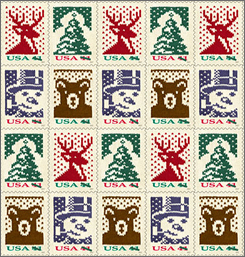 For the 2007 holiday season, the U.S. Postal Service will issue Holiday Knits, four stamps featuring classic Christmas-time imagery designed and machine knitted by nationally known illustrator Nancy Stahl: There is a dignified stag, a snow-dappled evergreen tree, a perky snowman sporting a top hat and a whimsical teddy bear.