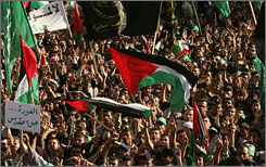 Palestinian supporters of Hamas and Islamic Jihad movements rally in Gaza on Tuesday to protest the Annapolis conference.