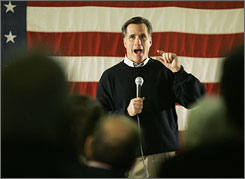 Republican presidential hopeful and former Massachusetts governor Mitt Romney campaigns at a recreational center in Keene, N.H., on Sunday.