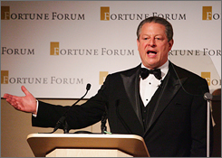 Former vice president Al Gore addresses the Fortune Forum Summit at the Royal Courts of Justice on Friday in London.