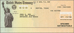 A sample IRS refund check. Handling a dramatic increase in the number of people facing a high alternative minimum tax could delay refunds by several weeks.