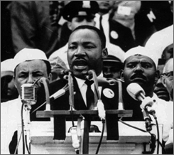 "Dr. Martin Luther King Jr. addresses marchers during his ""I Have a Dream"" speech at the Lincoln Memorial in Washington D.C. Aug. 28, 1963."