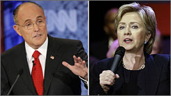Rudy Giuliani, left, and Hillary Rodham Clinton had never suffered such steep month-to-month drops before.