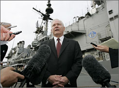 U.S. Secretary of Defense Robert Gates speaks after touring the USS Vicksburg in Bahrain on Thursday.