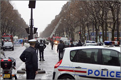 Police and rescuers on the scene of the deadly explosion in Paris on Thursday.