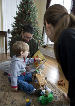 Ted and Alexis Olsen of West Chicago chose The Jesus Storybook Bible to read to son Leif.