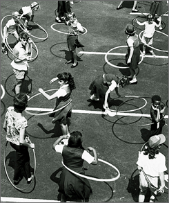 Hula hoops, all the rage in 1958, can help increase activity.