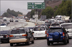 Traffic is backed up on Interstate-5 Freeway near Santa Clarita, Calif. The auto industry lawsuit challenging California's cap on emissions was rejected Wednesday.