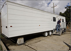 A testing device for formaldehyde levels is set up inside this FEMA trailer on Thursday.