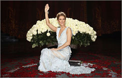 Celine Dion poses for photos following the final performance of A New Day at Caesars Palace Hotel & Casino in Las Vegas on Saturday.