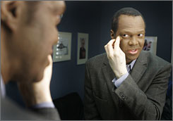 TV anchor Lee Thomas uses a combination of creams and makeup to cover the growing patches of skin  which he calls devoid of color  on his face, hands and arms.