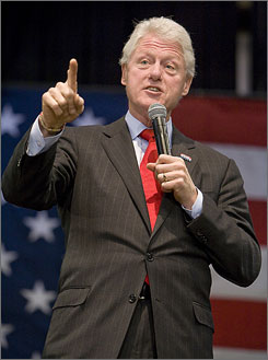 Former president Bill Clinton speaks Monday to a crowd at the Sumter County Exhibition Center in Sumter, S.C., on behalf of his wife Democratic presidential hopeful Hillary Clinton.
