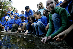 Rancho San Diego Elementary pupils study conservation at a garden in El Cajon, Calif. In a decade, metro San Diego has added 500,000 people without a big increase in water usage.