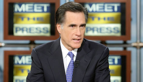 "Republican presidential hopeful and former Massachusetts governor Mitt Romney speaks during a taping of ""Meet the Press"" Sunday in Washington."