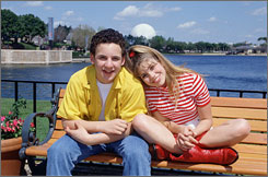 "Danielle Fishel, right, shown here with Boy Meets World co-star Ben Savage, pays a visit to Disney World on ""The Happiest Show on Earth"" episode in 1996. Fishel was arrested Thursday on a drunken driving warrant."