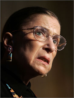 Justice Ruth Bader Ginsburg delivers a speech to the United Jewish Communities 2004 International Lion of Judah Conference in Washington in this Oct. 2004, file photo.