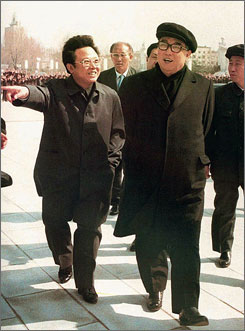  Kim Jong Il, left, took over the leadership of North Korea after the death of his father, dictator Kim Il Sung, right, in 1994. Analysts wonder if and which one of Kim Jong Il's three sons will eventually replace the &quot;Dear Leader.&quot;