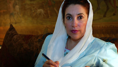 Benazir Bhutto poses in her home in London in this August 2002, file photo. Bhutto was assassinated on Thursday in a gun and bomb attack as she left an election rally in the city of Rawalpindi, Pakistan.