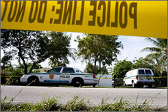 Miami police arrive to the scene of a shooting crime. Miami and Atlanta saw homicide rates rise this year for factors involving an increase in gangs, guns and drugs, in sharp contrast to Chicago and New York City.