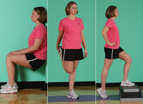 Trainer Amy Marshall demonstrates several ski fitness stretches. At left, she shows the wall sit; in the center she demonstrates the quad stretch; on the right is the step-up.