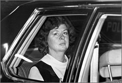 Sara Jane Moore, who took a shot at President Ford in a 1975 assassination attempt and is shown here on her way to court on Dec. 16 the same year, was released from prison Monday.