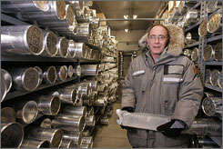 Lonnie Thompson stores ice cores in the minus-30-degree freezer at Byrd Polar Research Center, at Ohio State University, in Columbus, Ohio.