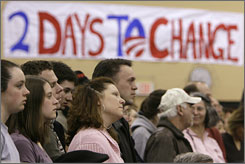 New Hamsphire voters listen to Sen. Barack Obama, D-Ill., during a campaign stop in Exeter, N.H., on Saturday.