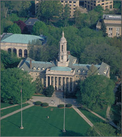 The Old Main administration building on the campus of Pennsylvania State University. Penn State is one of the schools where students are able to get virtual help.