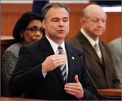 Virginia Gov. Timothy Kaine back in August 2007 reacting to a report by the Virginia Tech Review Panel at the state capitol in Richmond.