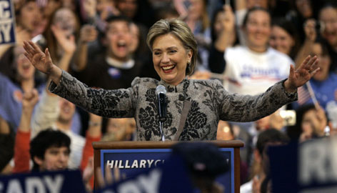 Sen. Hillary Clinton, D-N.Y., celebrates her victory in the New Hampshire primary Tuesday night in Manchester, N.H.