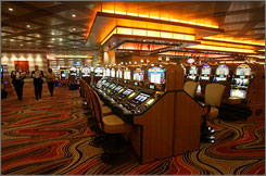 Slot machines at Pinnacle Entertainment's Lumiere Place casino in St. Louis.