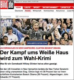 "Germany's Bild newspaper website declares ""what a comeback"" over Hillary Rodham Clinton's primary win."