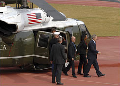 President Bush and U.S. Secretary of State Condoleezza Rice disembark from a U.S. Army helicopter in Jerusalem. The president's arrival marks the beginning of a landmark regional visit to Israel and the Palestinian territories.