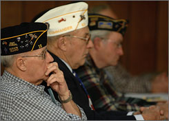 Gene Tornow, Doug Meyer and Vince Maag attended the benefits forum at the American Legion in Tea, SD Monday to hear about federal and state benefits for veterans that they may not have been aware of.